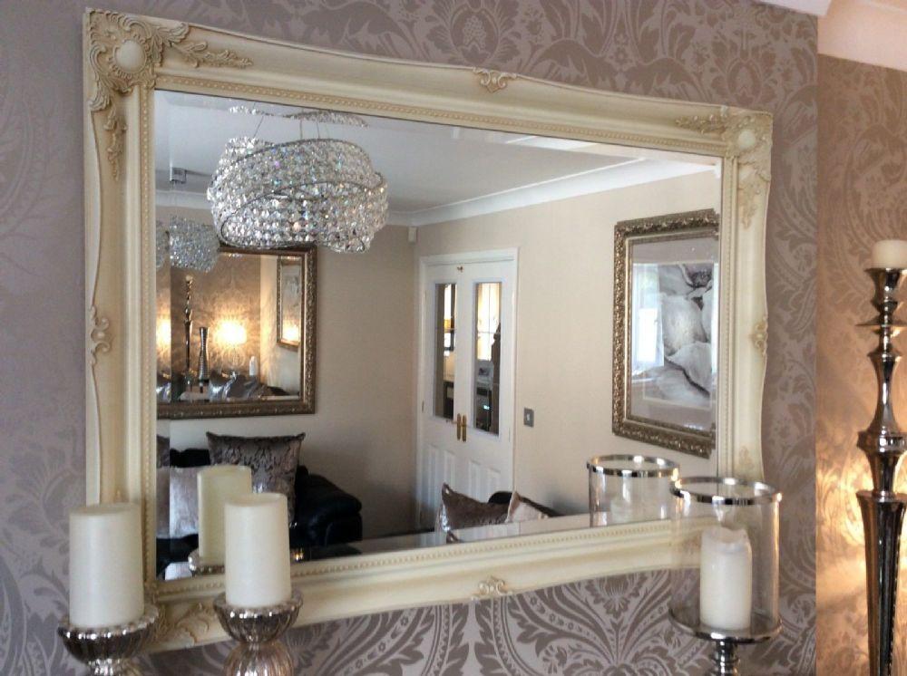 HUGE Cream Shabby Chic Framed Ornate Wall Overmantle Mirror - CHOOSE ...